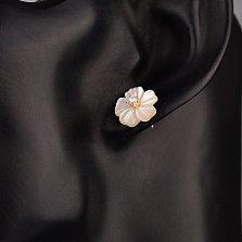 Золотые серьги-пуссеты Крокусы с белыми эмалью и фианитами