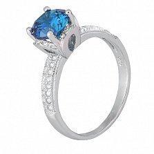 Серебряное кольцо с голубым фианитом Эмилия