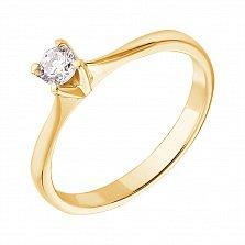 Кольцо в желтом золоте с бриллиантом Победа любви, 0,22ct
