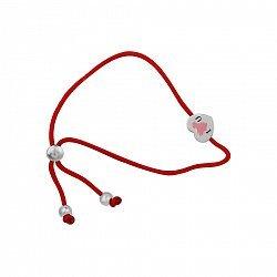 Браслет из серебра и красной нити Сердце с красной и черной эмалью 000105858