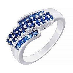 Серебряное кольцо Сарика с синим цирконием 000033865