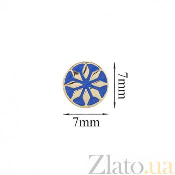 Золотые серьги-пуссеты Лайма с синей эмалью 2С766-0007
