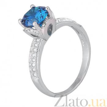 Серебряное кольцо с голубым фианитом Эмилия 000028142