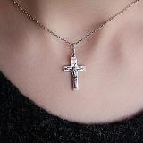Серебряный крестик Вера с золотой накладкой