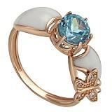 Золотое кольцо Летнее утро с топазом, фианитами и эмалью