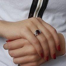 Серебряное кольцо Шадье с гранатом и фианитами
