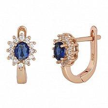 Позолоченные серебряные сережки с синими фианитами Анкария