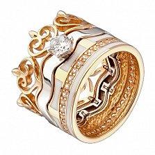 Золотое кольцо-трансформер Тристесса с фианитом