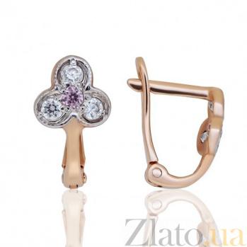 Золотые серьги Трилистник с розовыми фианитами EDM--С0333Р