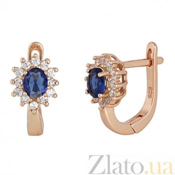 Позолоченные серебряные сережки с синими фианитами Анкария SLX--СК3ФС/375