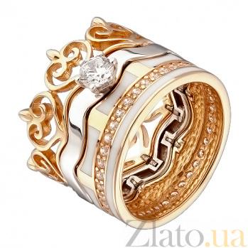 Золотое кольцо-трансформер Тристесса с фианитом 000043087