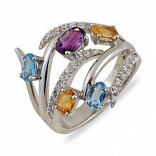 Золотое кольцо с аметистом, цитринами и топазами Линдсей