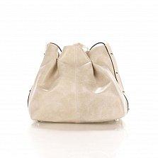 Кожаный клатч-мешок Genuine Leather 1678 цвета бархатный молочно-бежевый с плечевым ремнем