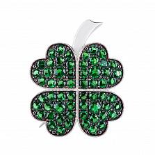 Серебряная брошь Удача в любви с зелеными фианитами