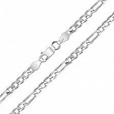 Серебряная цепочка Блейн в плетении Картье, 4мм