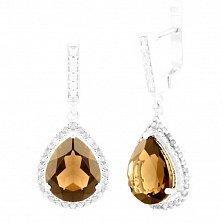 Серебряные серьги-подвески Ольвия с раухтопазом и фианитами