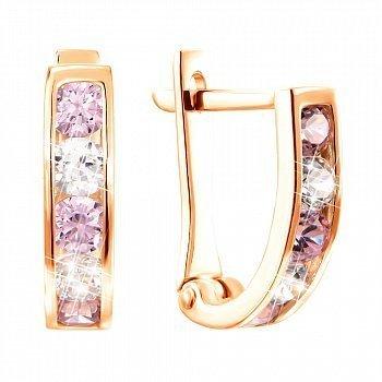 Сережки у червоному золоті з цирконієм Swarovski рожевого і білого кольору 000099264