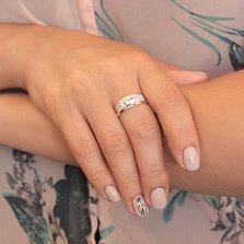 Серебряное кольцо Фемида с золотом и белыми фианитами