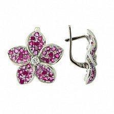 Серебряные серьги с цирконием и рубинами Плюмерия
