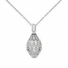 Серебряное колье Нагайна с головой змеи, зелеными и белыми фианитами