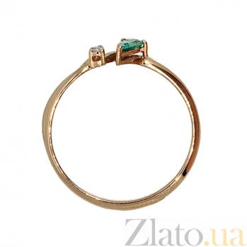 Золотое кольцо Дарина с изумрудом и бриллиантом ZMX--RDE-5576_K