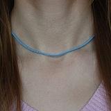 Шелковый шнурок  голубого цвета  c серебряной застежкой Милан, 2мм