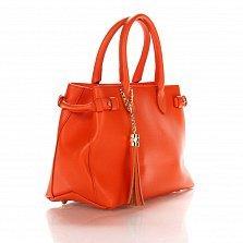 Кожаная деловая сумка Genuine Leather 8927 оранжевого цвета на молнии, с декоративной кистью