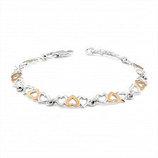 Серебряный браслет Веселые сердечки с золотыми накладками