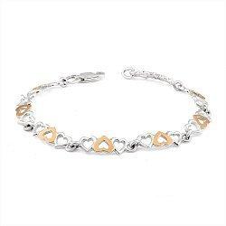 Серебряный браслет с золотыми накладками 000116177