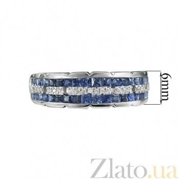 Золотое кольцо с сапфирами и бриллиантами Параллели 000026870