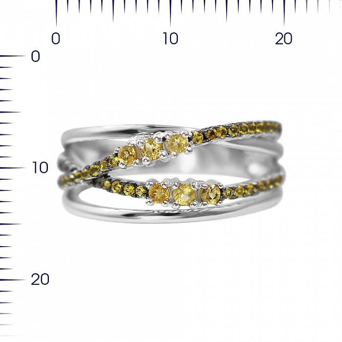 Серебряное кольцо Музыка лета с цитрином и желтыми фианитами 000081641