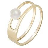 Кольцо в желтом золоте Встреча у моря с жемчугом