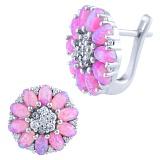 Серьги из серебра Лакшми с розовым опалом и фианитами