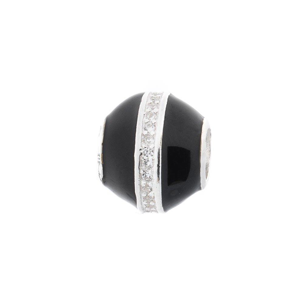 Серебряный шарм Грета с фианитами и черной эмалью