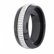 Серебряное кольцо Дакота с керамикой и фианитами