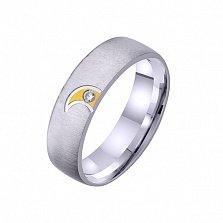 Золотое обручальное кольцо Вечный медовый месяц с фианитом