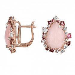 Золотые серьги с ониксом, бриллиантами, розовыми кварцами и турмалинами Мечтательница 000037927