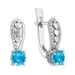 Серебряные серьги Лила с голубым кварцем и цирконием 000071188