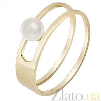 Кольцо в желтом золоте Встреча у моря с жемчугом 000032814