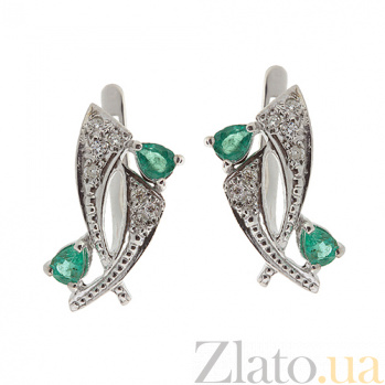 Серебряные серьги Паулина с бриллиантами и изумрудами ZMX--EDE-6150-Ag_K