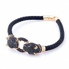 Каучуковый браслет Черная пантера с красным золотом и фианитами