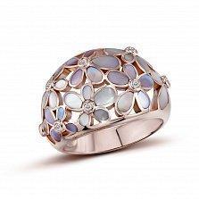 Кольцо из красного золота Сирена с бриллиантами и перламутром