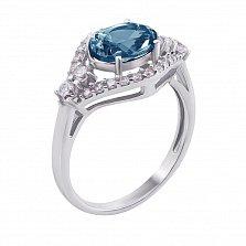 Серебряное кольцо Прага с лондон топазом и фианитами