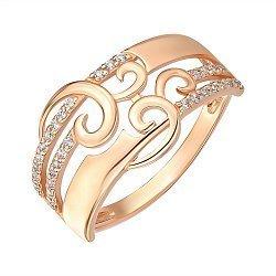 Кольцо из красного золота с цирконием 000146037