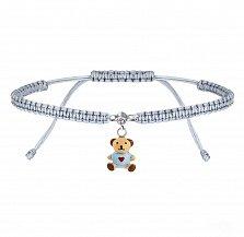 Детский плетеный браслет Мишка с сердцем в сером цвете с эмалью и фианитом,10х20см