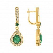 Золотые серьги-подвески Улыбка Востока с изумрудами и бриллиантами