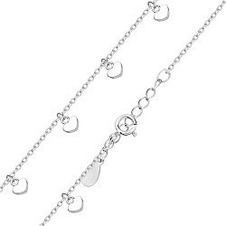 Серебряный браслет с подвесками-сердечками в якорном плетении 000131572