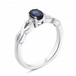 Серебряное кольцо с сапфиром и фианитами 000135107