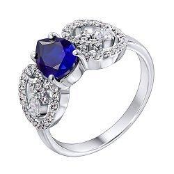 Серебряное кольцо Эмили с синтезированным сапфиром и фианитами