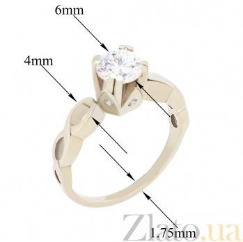Золотое помолвочное кольцо Юма с ассиметричной узорной шинкой и белыми фианитами  000096672